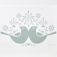A4 Birds and Berries in Soft Winter Green - Signed Open Edition Giclee Print