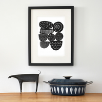 Abstract Seed Heads In Black - Signed Open Edition Giclee Print