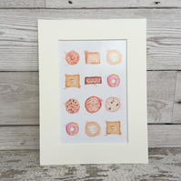 Watercolour English biscuit print