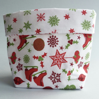 REDUCED - Ice Skate Fabric Pot (red)