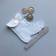White Ice Skate Coin Purse with Silver Glitter Stars