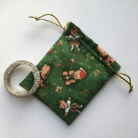 Gift or Jewellery Pouch with Ice Skating Teddy Bears