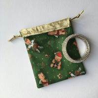 Gift or Jewellery Pouch with Ice Skating Teddy Bear and Gold Rim