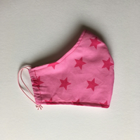 Cotton Face Mask - reusable with filter pocket, pink stars, small