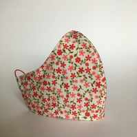Cotton Face Mask - reusable with filter pocket, pink red flowers, medium