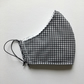 Cotton Face Mask - reusable with filter pocket, black gingham, large