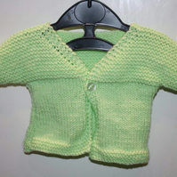 Spring Green  0-3 months short sleeved cardigan