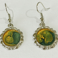 Hand painted and varnished earrings