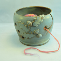 Yarn Bowl with Oak Leaves and Acorns