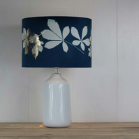 Horsechestnut leaf cyanotype blue lampshade with foil detail
