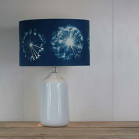 Allium seedhead cyanotype blue lampshade with foil detail