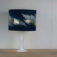 Ferns cyanotype blue lampshade with foil detail