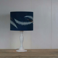 Finger Ferns cyanotype blue lampshade with foil detail