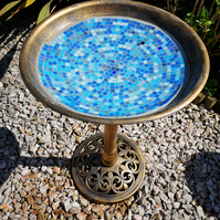 Birdbath decorated with Mosaics