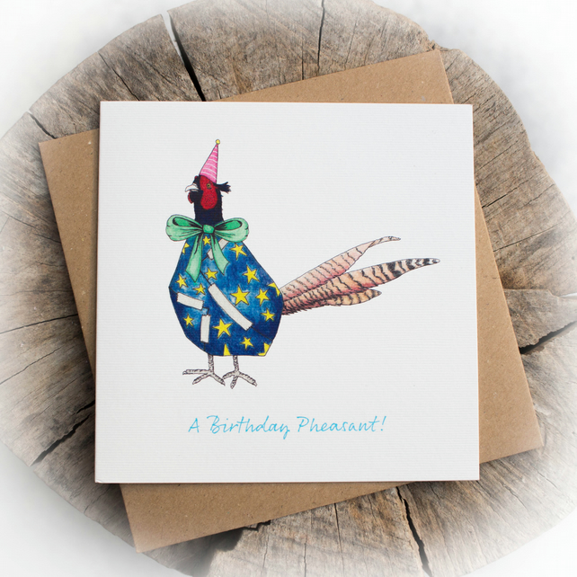 Birthday Pheasant Pun Birthday Note Card - Free delivery
