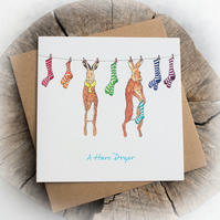 Hare Dryer Pun Birthday Note Card - Free delivery