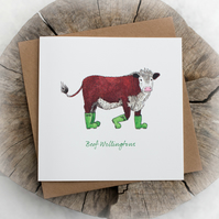 Beef Wellingtons Pun Birthday Note Card - Free delivery