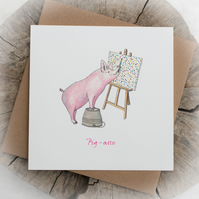Pig-asso Pun Birthday Note Card