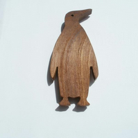 penguin fridge magnet wood spalted walnut scroll saw