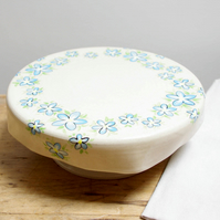 Cake Stand - Round Circle Forget-Me-Not Flowers