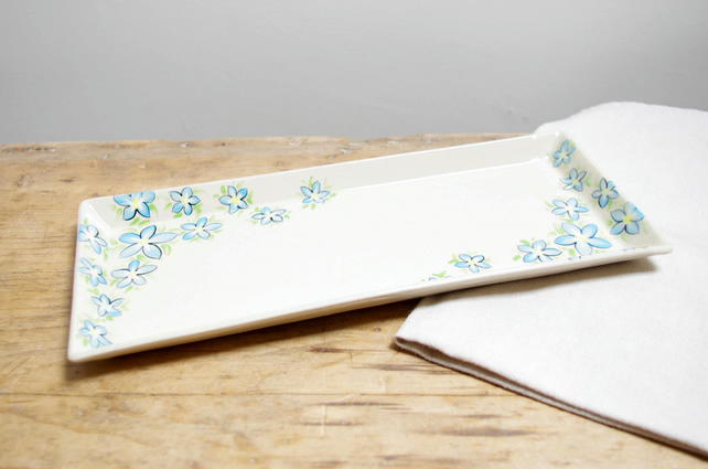 Large Rectangle Platter - Forget-Me-Not
