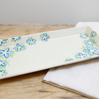 Small Rectangle Platter - Forget-Me-Not