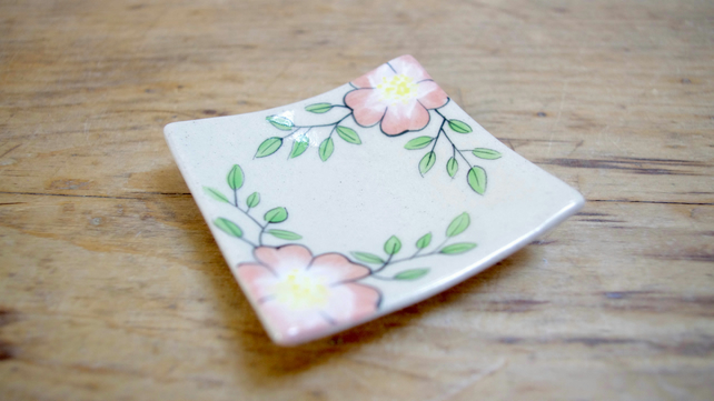 Tea Bag Dish - Wild Rose (Square)