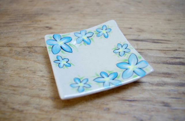 Tea Bag Dish - Forget-me-nots (Square)