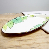 Small Oval Platter - Summer Leaves