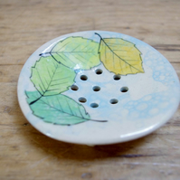 Soap Dish (Circle)  - Season Beech Leaves Floating on Pond