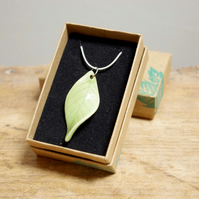 Necklace - Green Leaves (Oval Twist), Sliver Plated Snake Chain