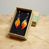 Earrings - Orange and Red (Oval Twist)