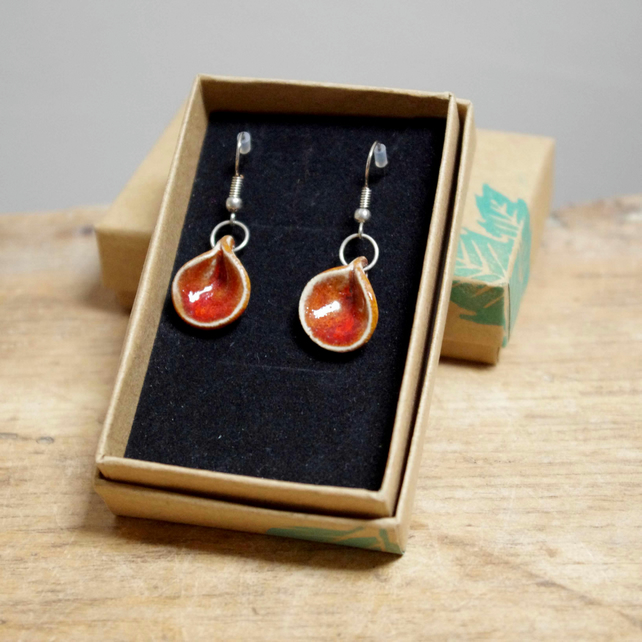 Earrings - Red (Circle Fold)