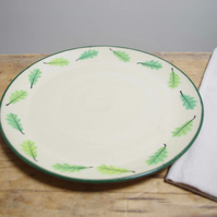 Large Plate - Round Circle Green Oak Leaves