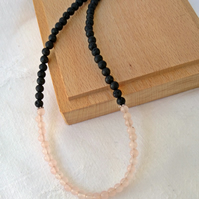 Beaded rose quartz and lava stone choker necklace, Bohemian style for layering.