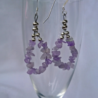 Amethyst hoop earrings, February birthstone statement earrings