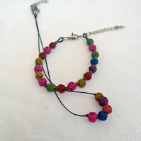 Black cord and coloured lava bead choker and bracelet, colourful jewellery set