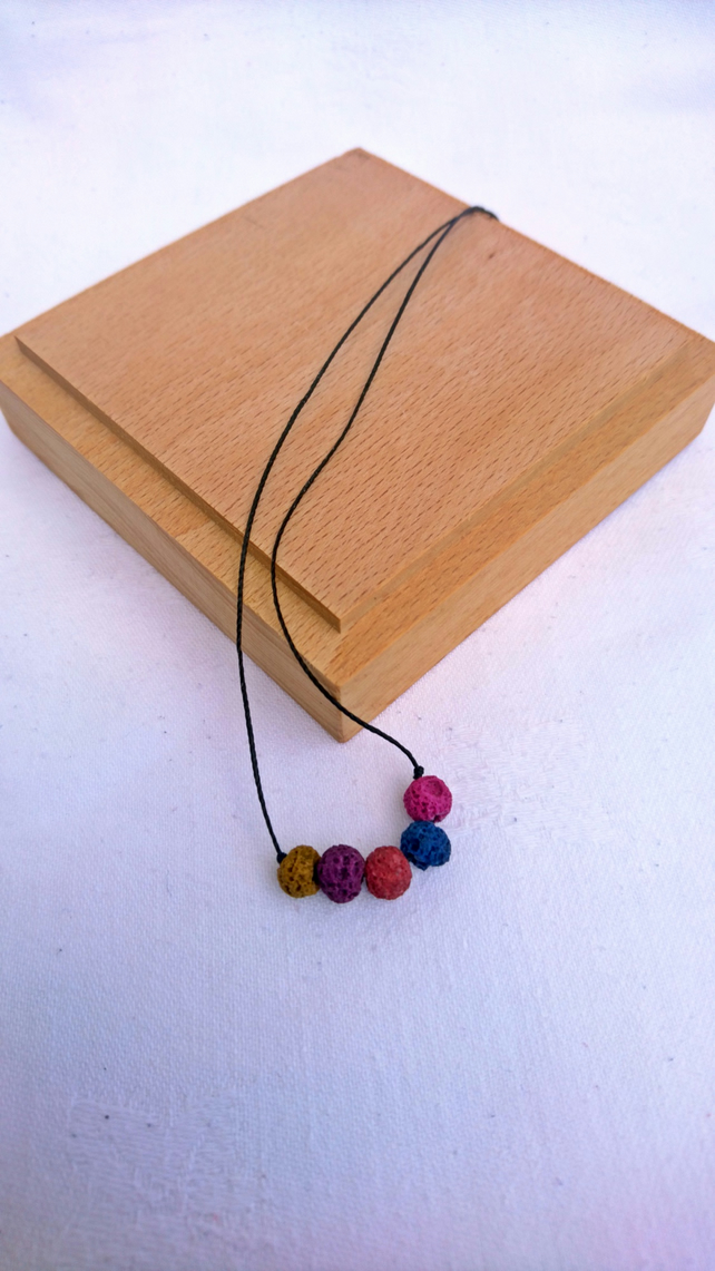Lava stone necklace,simple coloured lava bead  minimalist choker