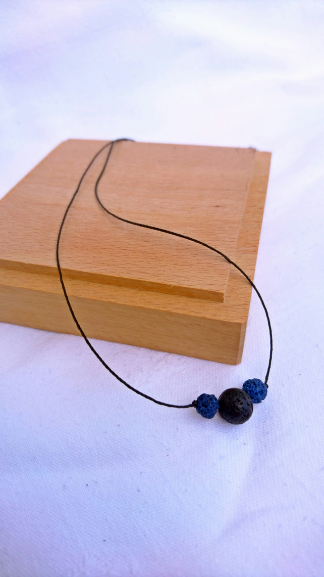 Dainty lava stone choker, blue and black  bead minimalist diffuser necklace,
