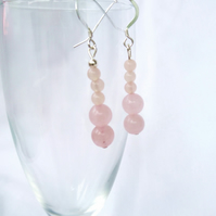 Rose quartz dangle earrings natural gemstone,sterling silver ear hooks