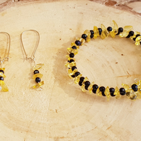 Citrine earrings and bracelet set