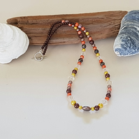 Brown, yellow and orange necklace