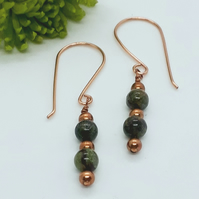 Dragon Blood Jasper Bead Earrings
