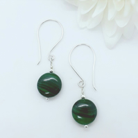 Malachite and Silver Drop Earrings