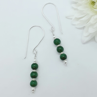 Malachite and Silver Bead Earrings