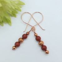 Red Jasper Bead Earrings