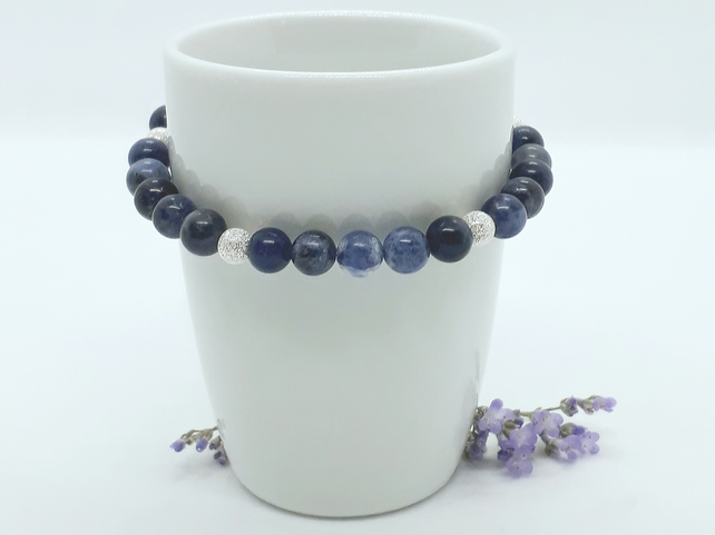 Sodalite and Silver Bead Bracelet