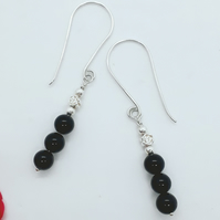 Black Onyx Bead Earrings