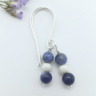 Sodalite and Silver Bead Earrings