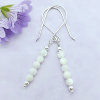 Mother of Pearl and Silver Drop Earrings